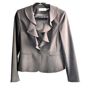 Calvin Klein Blazer with ruffle collar- size 6